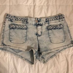 Acid washed jean shorts